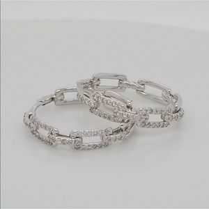 DAVID YURMAN DIAMOND STAX CHAIN LINK HOOP EARRINGS